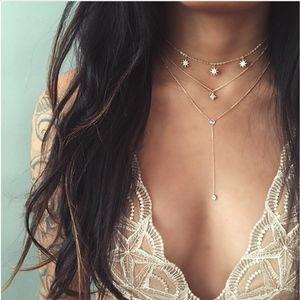 Jewelry - Gold Star Crystal Drop Pendant Layered Choker
